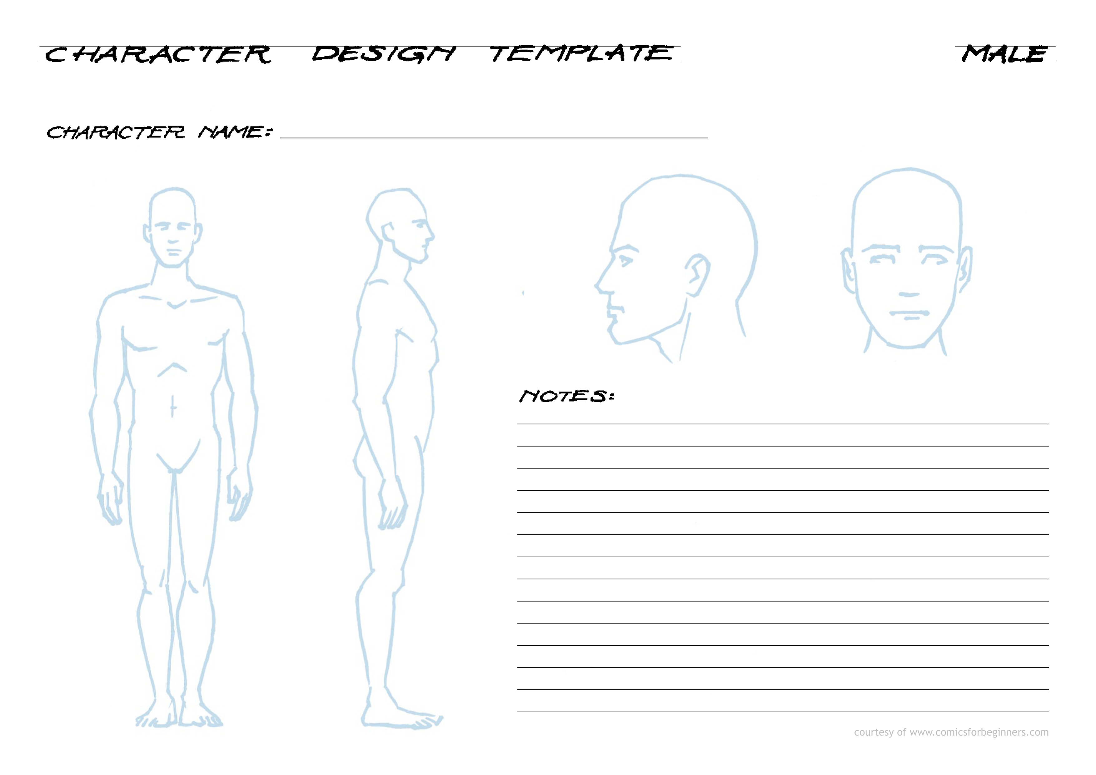 Character Design For Beginners : Male character design template a comics for beginners