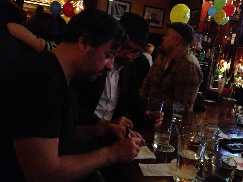 Dean Haspiel sketching on napkins at an after NYCC event, New York 2013.